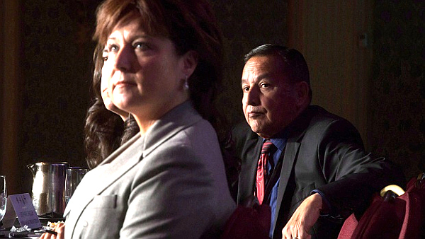 Premier Clark and Chief Phillip (Darryl Dick--The Canadian Press)