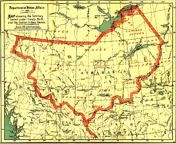 A federal government map showing the boundaries of Treaty 8 -- Photo By Government of Canada