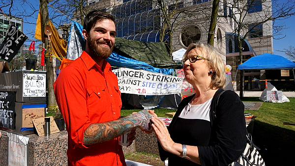 'Green Party' leader Elizabeth May at the protesters' camp outside BC Hydro on Fri. April 1, 2016. Photo by Elizabeth McSheffrey