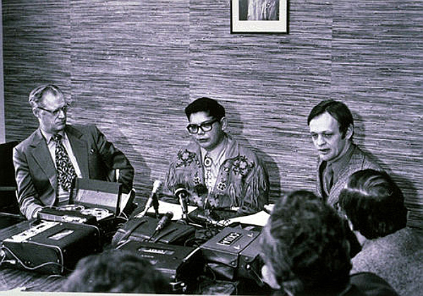 Premier of Alberta Harry Strom, aboriginal racial nationalist Harold Cardinal, and Jean Chrétien, Minister of Indian Affairs