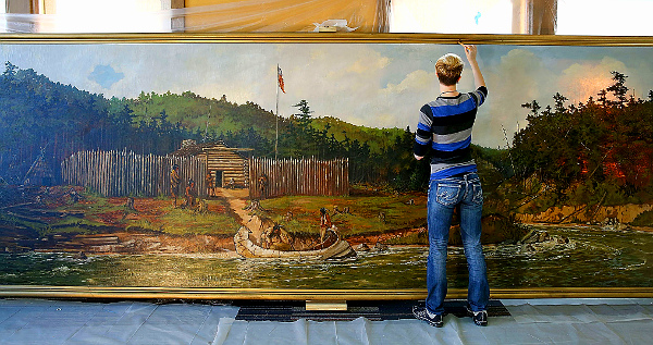 Restoration of 'Perrault's Trading Fort' by Cal Peters (UW-Stout photo by Brett T. Roseman)